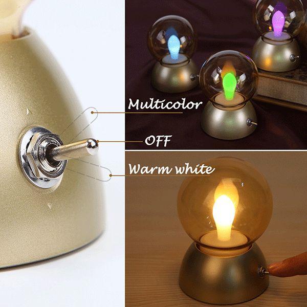Retro Style USB Charging Colorful Bulb Night Light