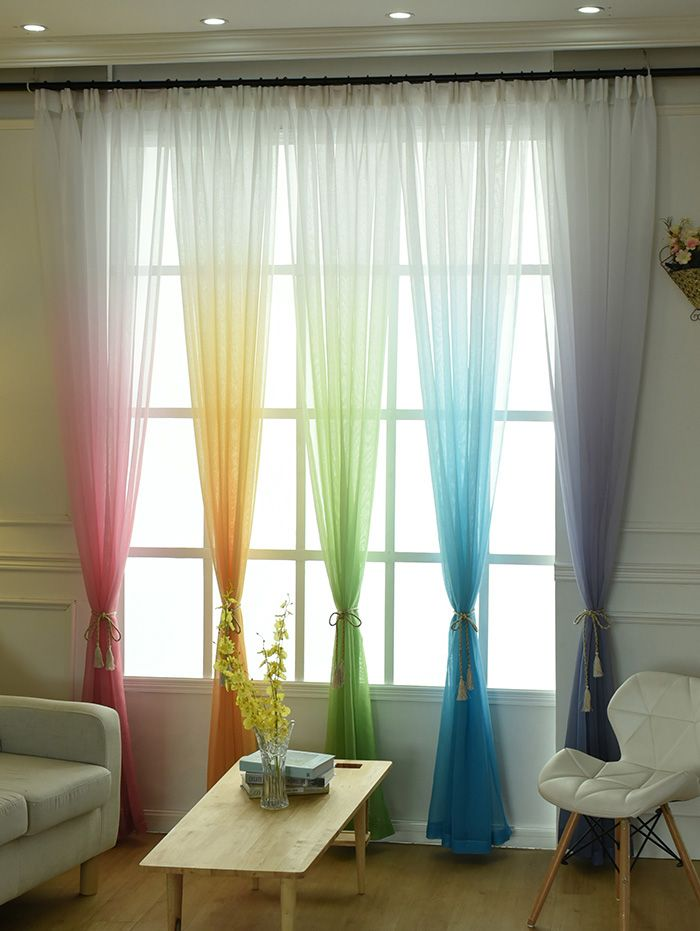 Ombre Decorative Window Screen Sheer Tulle Curtain
