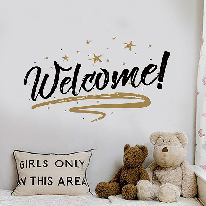 Welcome Letter Removable Shop Door Wall Sticker