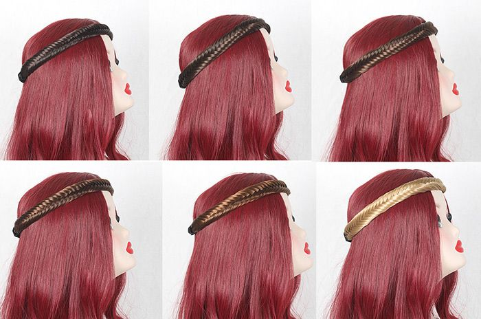 Fishbone Shape Colormix Braided Headband Hair Extension