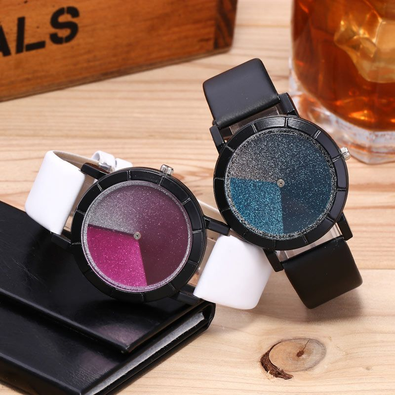 Faux Leather Strap Glitter Ombre Watch