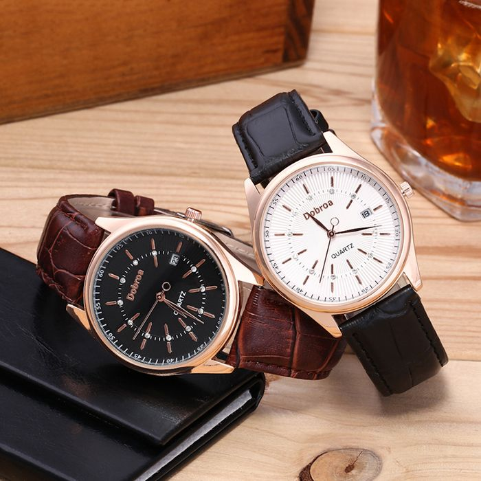 Faux Leather Strap Rhinestone Date Watch