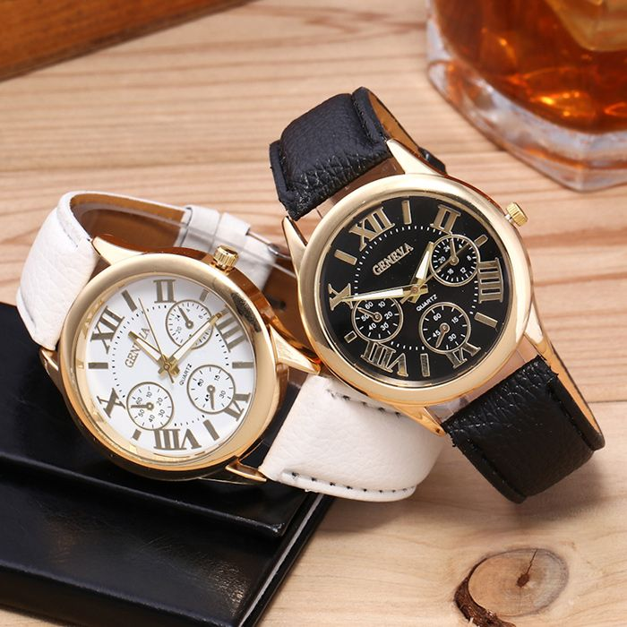 Faux Leather Strap Roman Numeral Watch
