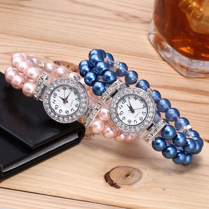 Faux Pearl Strap Number Bracelet Watch