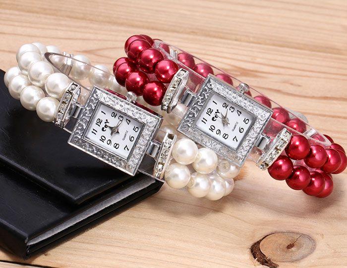 Rectangle Faux Pearl Bracelet Watch