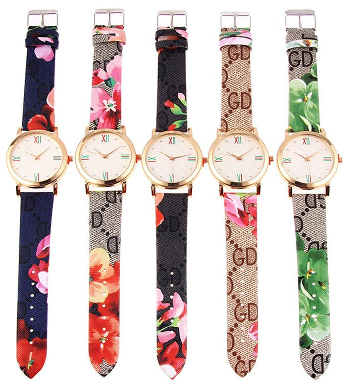 Flower Print Faux Leather Strap Quartz Watch