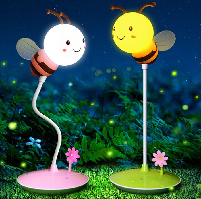 USB Charging Timing Cartoon Bee Desk Lamp