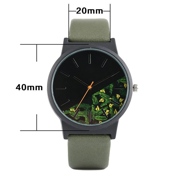 Floral Face Faux Leather Strap Watch