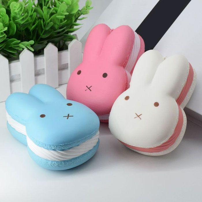PU Squishy Toy Simulation Macaron Rabbit Bread