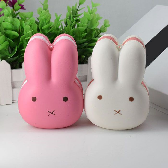 PU Squishy Toy Simulation Macaron Rabbit Bread
