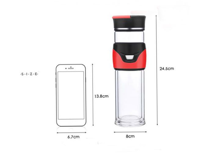 Glass Kung Fu Tea Travel Bottle with Filter