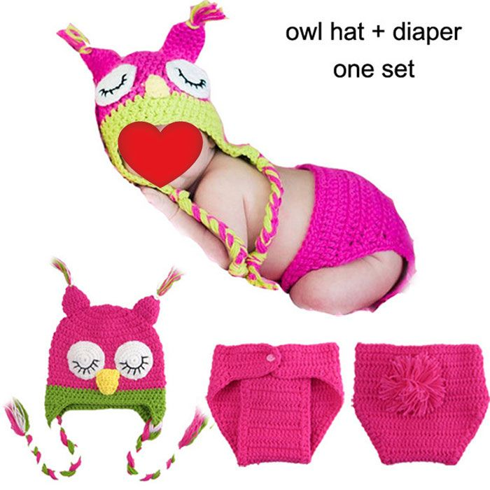 Knitted Owl Baby Photography Hat and Diaper