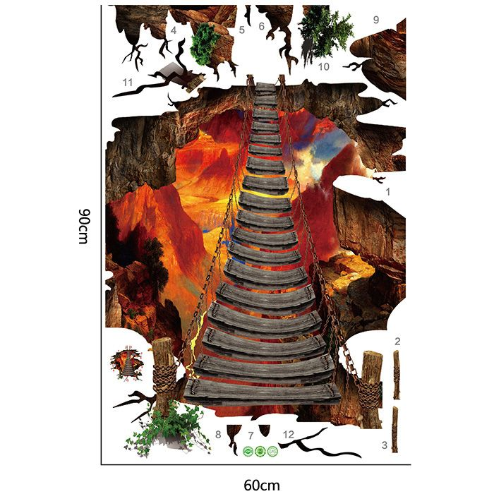 3D Volcano Chain Bridge Floor Wall Sticker