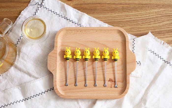 6PCS Mini Stainless Steel Cartoon Bee Forks