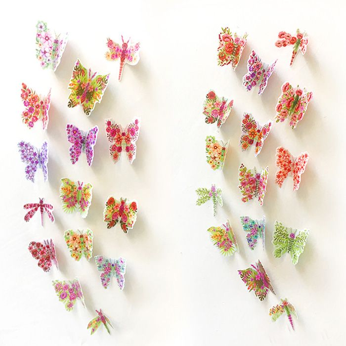 Pastoral PVC 3D Butterfly Bedroom Wall Sticker Set