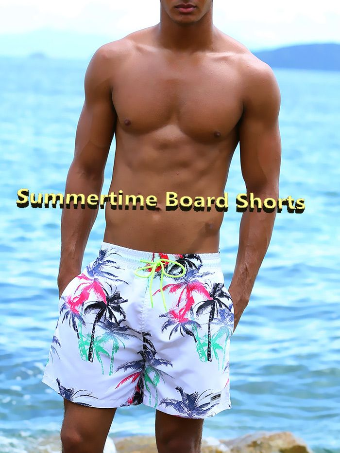 Drawstring Colorful Coconut Palm Print Board Shorts