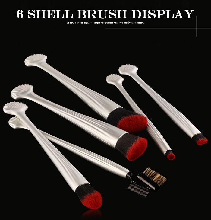 6Pcs Plating Shell Facial Makeup Brushes Set
