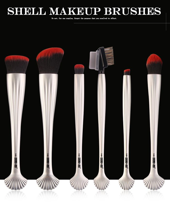 6Pcs Plating Shell Facial Makeup Brushes Set