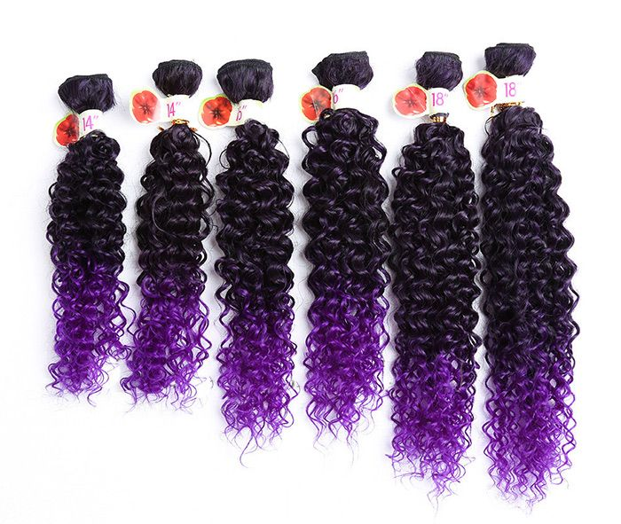 6PCS 14~18 Inches Colormix Jerry Wave Hair Wefts