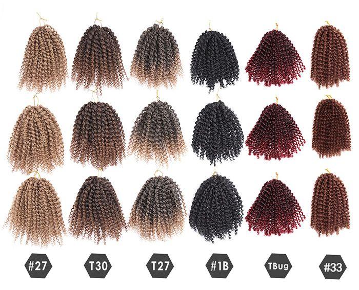 Short Shaggy Afro Curly Mali Bob Braids Synthetic Hair Weft