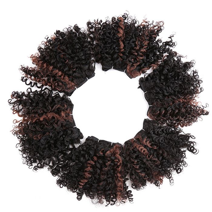 6PCS Short Shaggy Colormix Bloom Afro Curly Synthetic Hair Wefts
