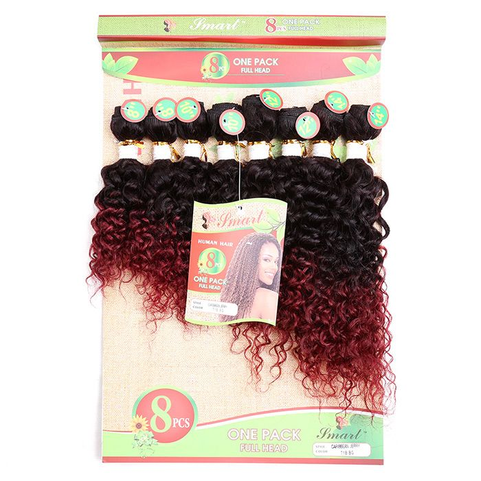 8PCS Human Hair Mixed Synthetic Fiber Caribbean Jerry Curly Hair Wefts