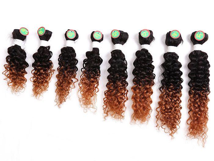 8PCS Human Hair Mixed Synthetic Fiber Caribbean Jerry Curly Hair Wefts