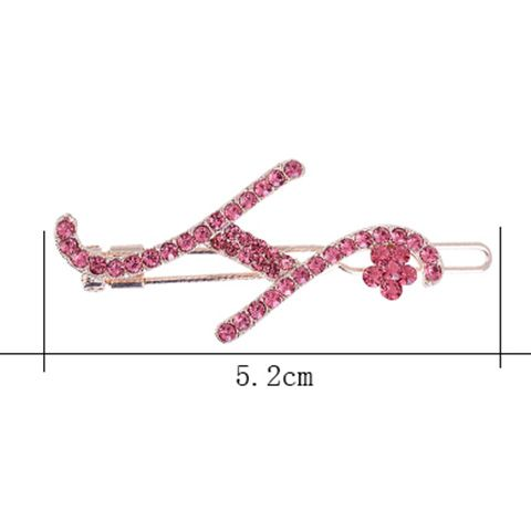 Letter H Shape Hair Clip with Rhinestone