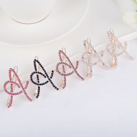 Hollow Out Letter A Rhinestone Hair Clip