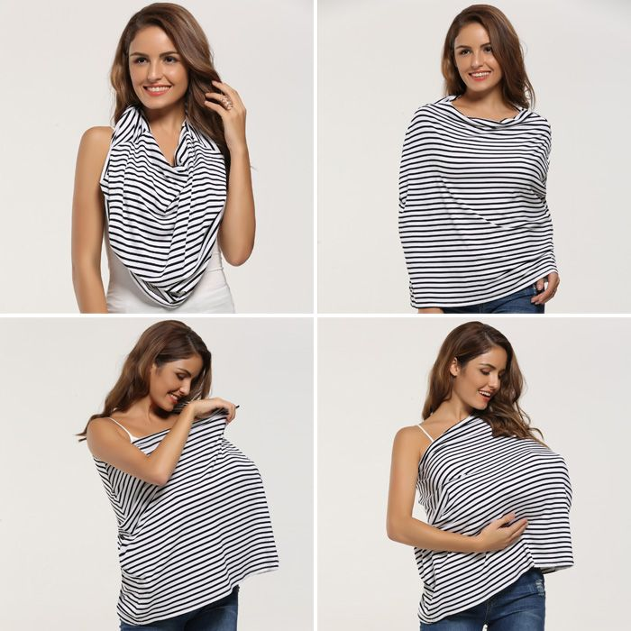 Striped Portable Nursing Breastfeed Cover Scarf