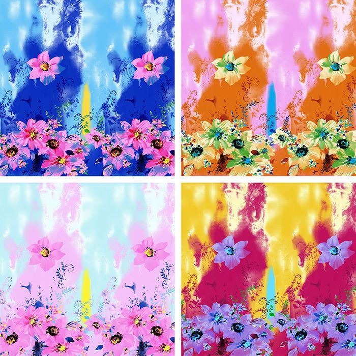 Chiffon Flower Splash Ink Print Square Scarf