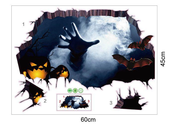 Halloween 3D Hand Pumpkin Wall Art Sticker
