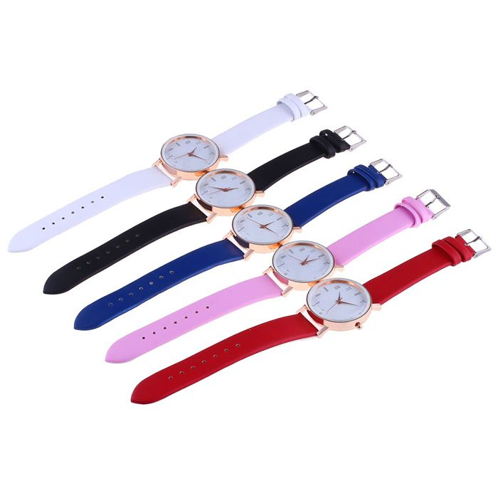 Faux Leather Strap Minimalist Number Watch