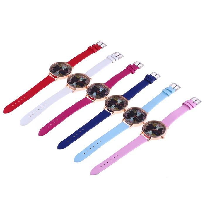 Faux Leather Strap Floral Letter Face Watch