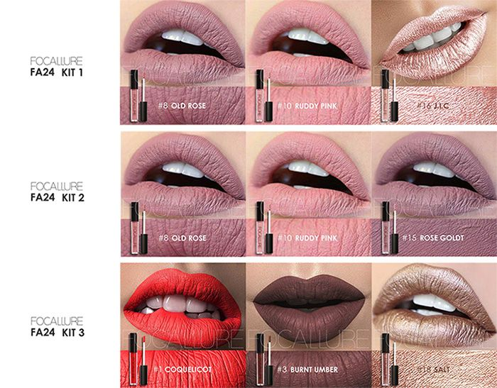 3Pcs Waterproof Metallic Color Moisturizing Lip Glaze Set