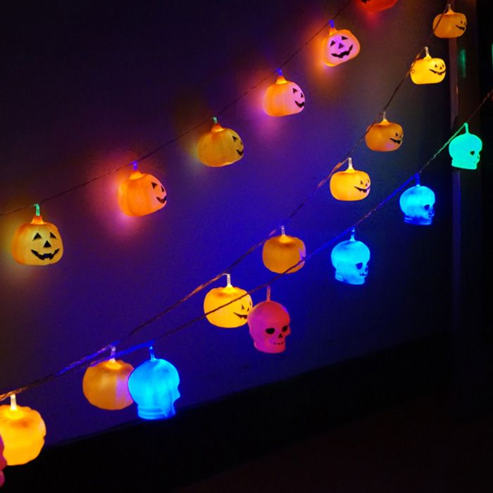 16 Pcs LED Halloween Pumpkin Hanging String Lights