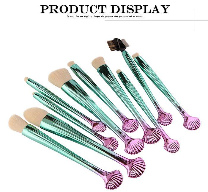 10Pcs Gradient Color Multifunction Ocean Shell Brushes Set