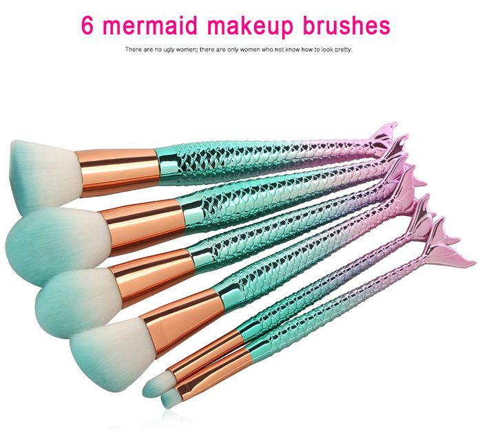 6Pcs Face Eye Ombre Mermaid Handle Makeup Brushes