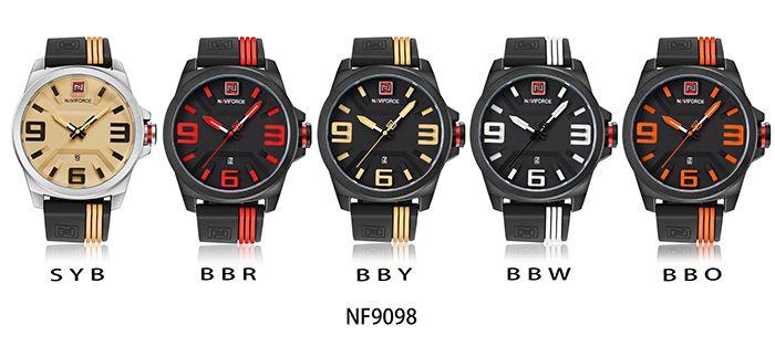NAVIFORCE 9098 Silicone Strap Date Luminous Watch