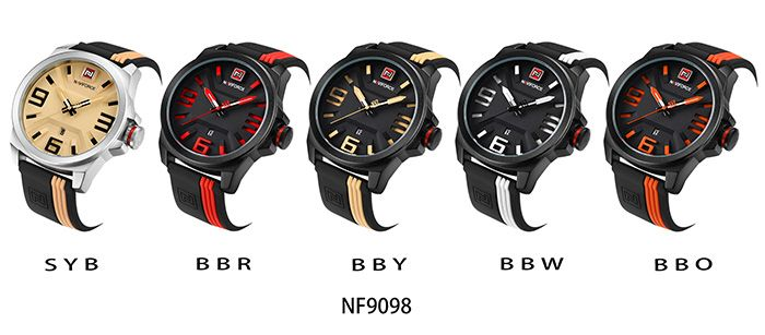 NAVIFORCE 9098 Silicone Strap Date Luminous Watch