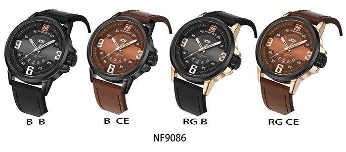 NAVIFORCE 9086 Faux Leather Band Date Luminous Watch