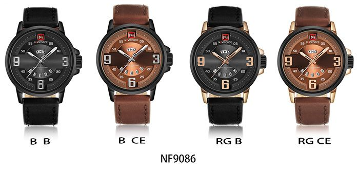 NAVIFORCE 9086 Faux Leather Band Date Luminous Watch