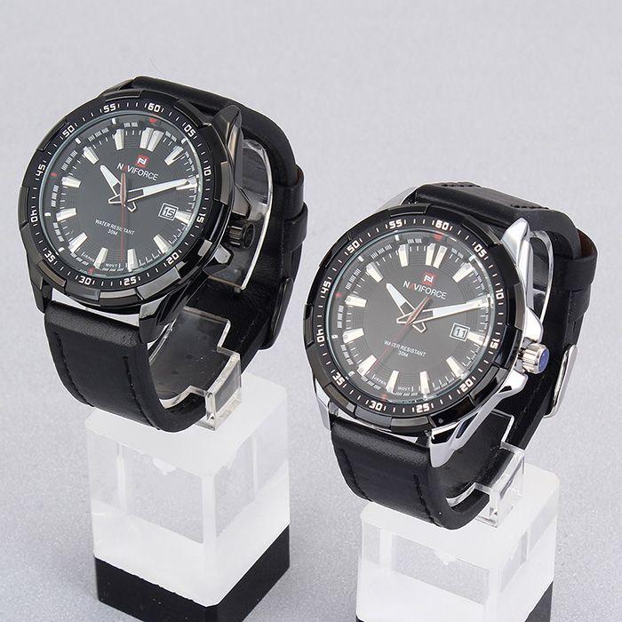 NAVIFORCE 9056 Luminous Faux Leather Strap Date Watch