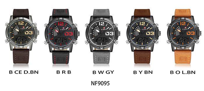 NAVIFORCE 9095 Luminous Faux Leather Strap Analog Digital Watch