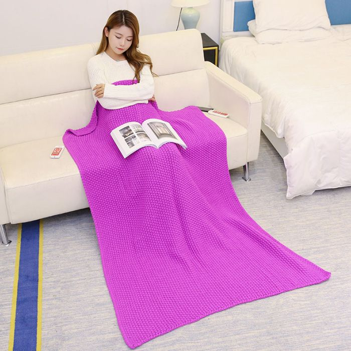 Handmade Knit Bedding Sofa Throw Blanket