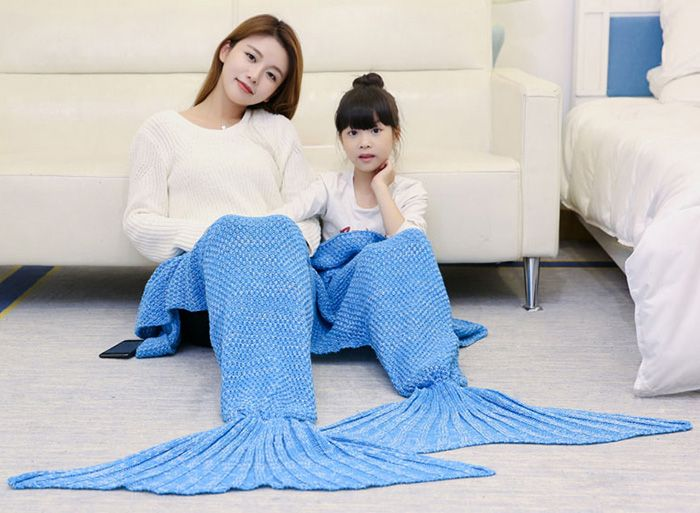 Knitted Mother and Daughter Mermaid Blanket