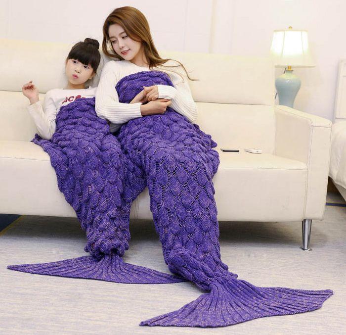 Fish Scale Crocheted Parent-child Mermaid Blanket