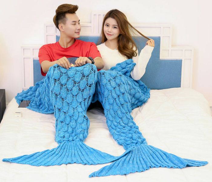 Crochet Fish Scale Mermaid Tail Blanket For Lovers