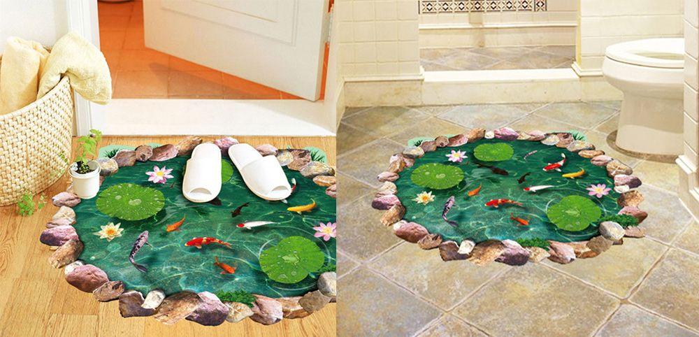 Special 3D Lotus Pond Design Sticker For Bathroom