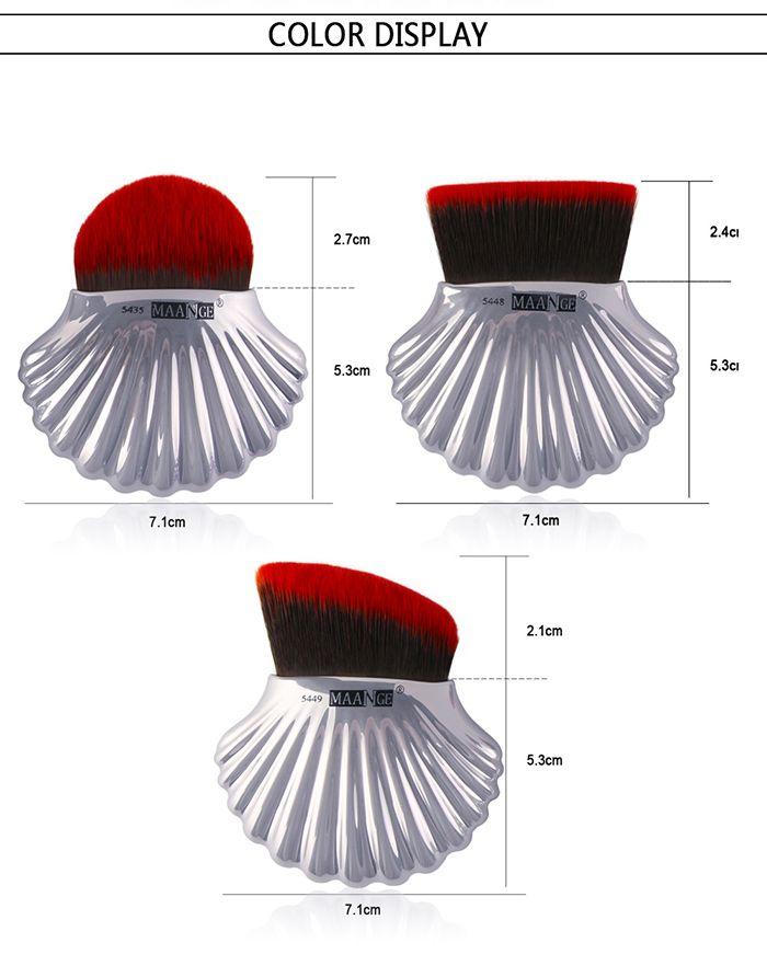 3Pcs Ocean Shell Design Multipurpose Makeup Brushes Set